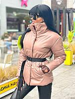 Куртка жіноча екошкіра, куртка коротка екокожа Пудровий