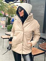 Куртка жіноча екошкіра, куртка коротка екокожа Бежевий