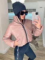 Куртка жіноча екошкіра, екошкіра куртки жіночі Пудровий