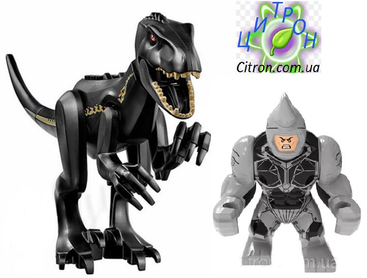 Динозавр черный Индораптор + большая фигурка Носорог  Длина 27 см. Конструктор аналог Лего