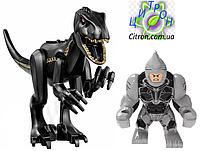 Динозавр черный Индораптор + большая фигурка Носорог  Длина 27 см. Конструктор аналог Лего, фото 1