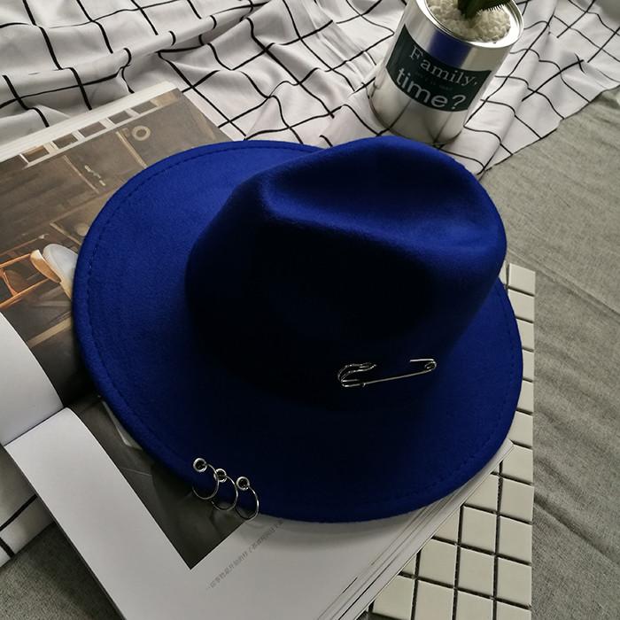 Шляпа фетровая Федора с устойчивыми полями и декором синяя