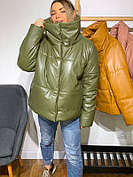 Шикарная кожаная зимняя куртка Oversize, фото 1