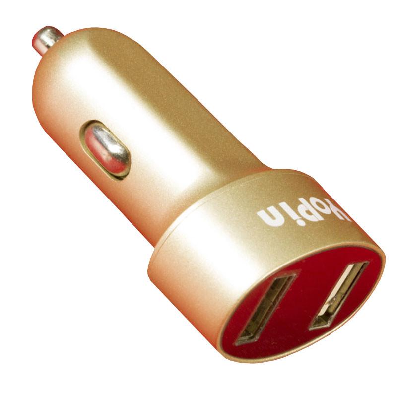 Автомобільний зарядний пристрій Yopin CC-017USBx2 2.1 А/1А Gold
