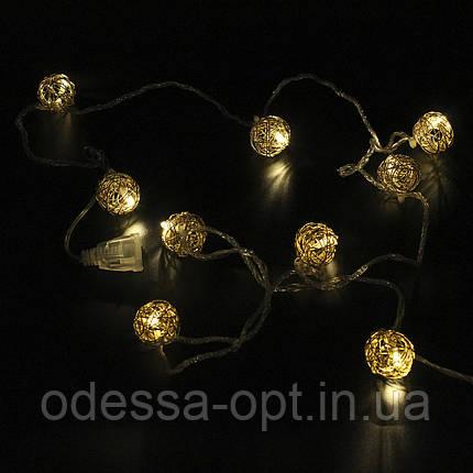 Xmas гирлянд GOLDEN BALL 10 LED WW-1 Тёп.белый 2M, фото 2