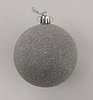 Набор новогодних игрушек, шары на елку в упаковке 6 шт, пластик, серебристый, d 8 см.