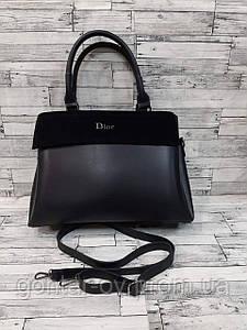 Чорна жіноча сумка Dior на 3 відділення з замшевою вставкою
