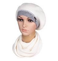 Комплект женский вязаный берет и шарф Inga ангора цвет белый, фото 1
