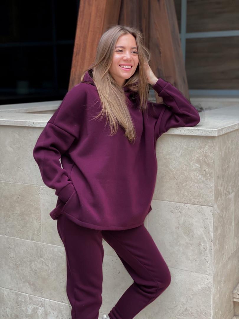 Теплый женский спортивный костюм с капюшоном из трехнитки 13-337