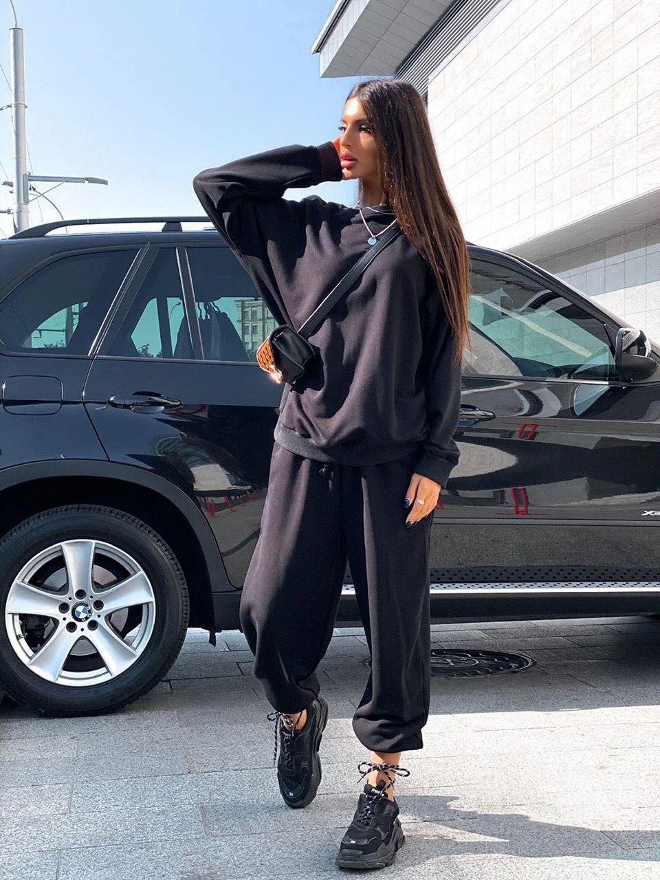 Костюм женский теплый спортивный свободная кофта и штаны