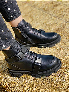 Стильні модні молодіжні шкіряні зимові черевики