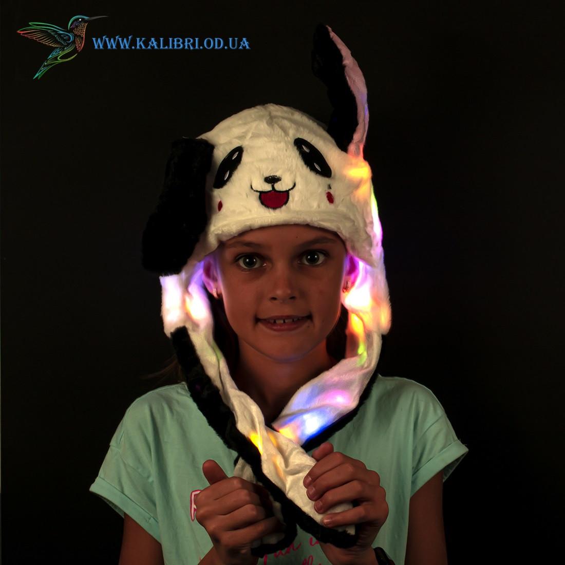 Светящиеся шапка с поднимающимися ушками Панда ША-08