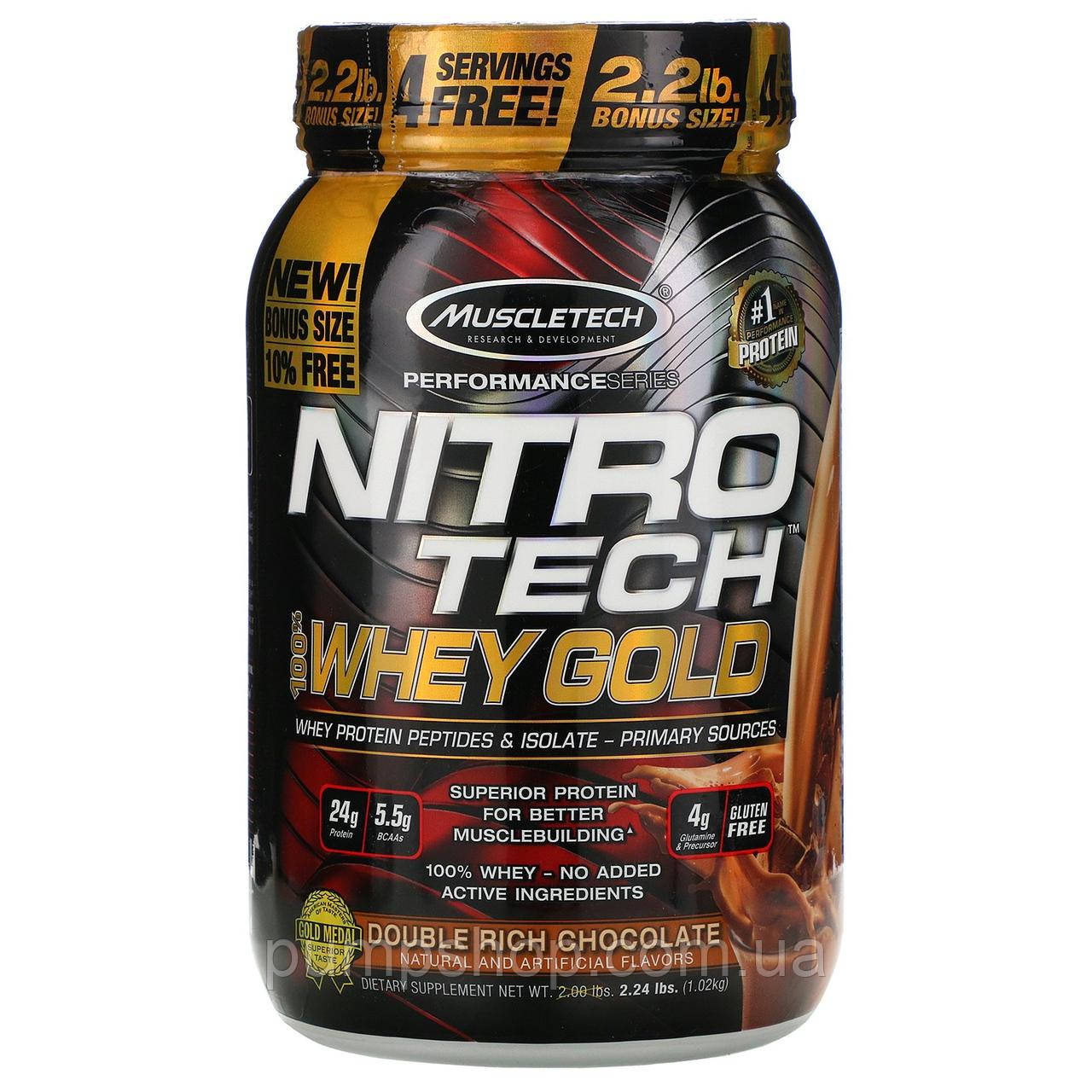 Сывороточный изолят протеин MuscleTech Nitro-Tech Whey Gold 1810 г