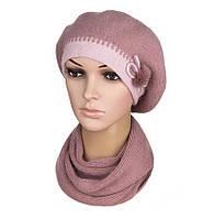Комплект жіночий в'язаний берет і шарф Linda ангора колір пудровий, фото 1