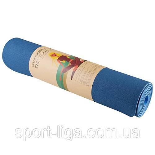 Йогамат, килимок для фітнесу і йоги, двоколірний, 6 мм, 183см*61см