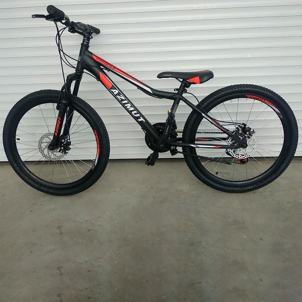 """Подростковый велосипед 24"""" Azimut Forest GD черно-красный"""