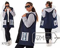 Стильная теплая женская джинсовая удлиненная батальная куртка на синтепоне и с капюшоном р.50-56. Арт-3815/20