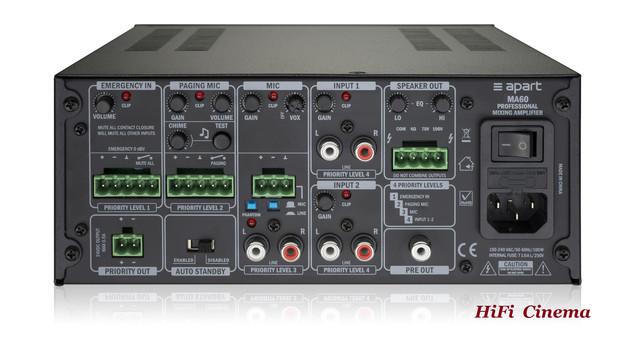 Apart MA60 Mixing Amplifier - rear panel
