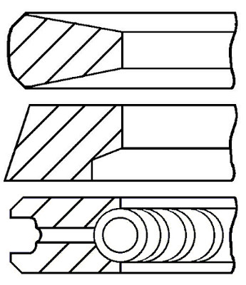 Кільця поршневі MB 97.5 (2.5/2.5/4) OM364/OM366 (1 ЦИЛ) (пр-во групи kolbenschmidt), 800019212000