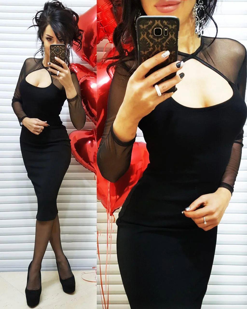 Платье элефант силуэтное с декольте  стрейч сетка
