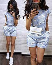 Костюм шорты и футболка с принтом в цветок лен, фото 2