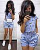 Костюм шорты и футболка с принтом в цветок лен, фото 3