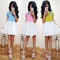 Платье с колибри низ шифон верх джерси, фото 3