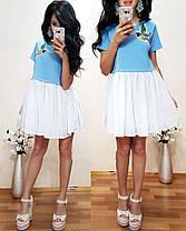 Платье с колибри низ шифон верх джерси, фото 2