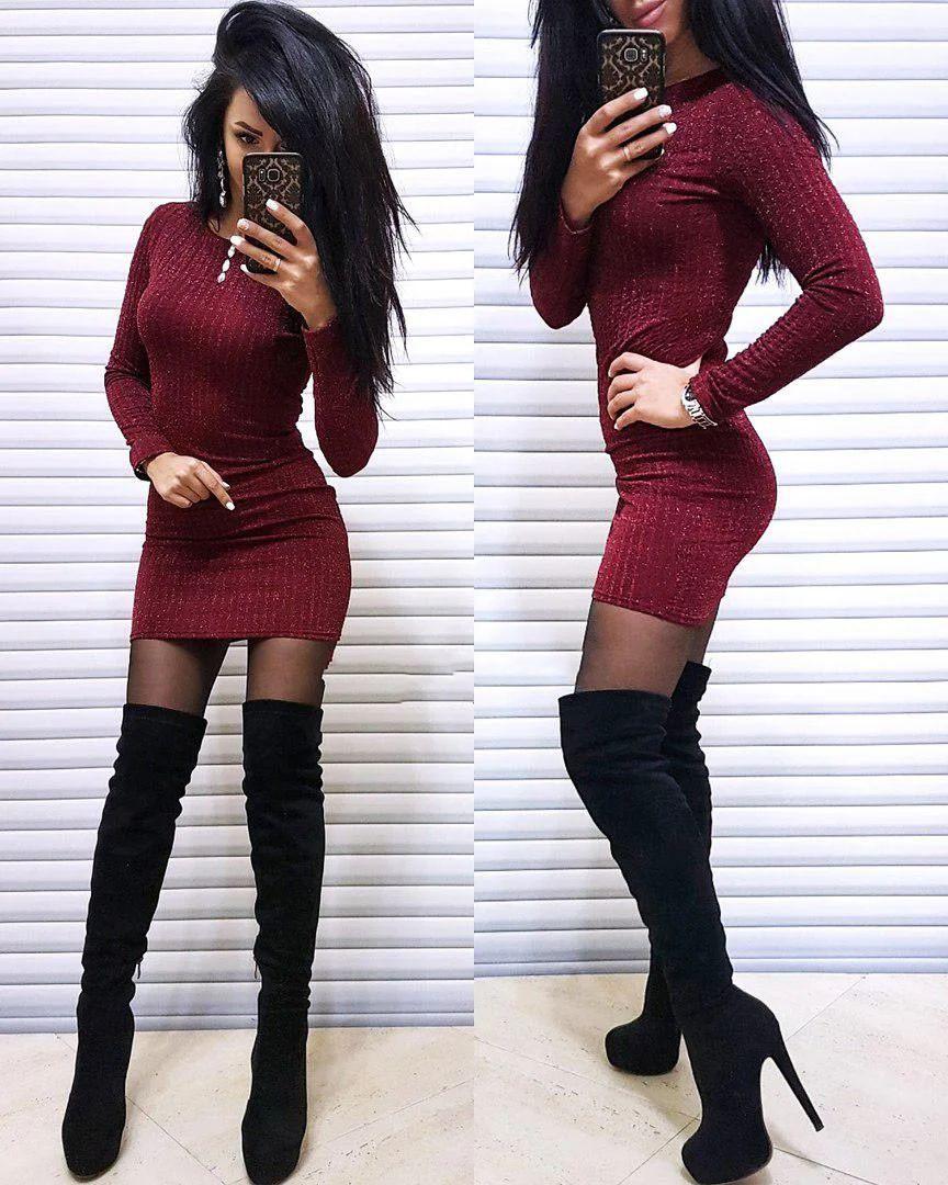 Платье облегающее мини в полоску с люрексом