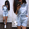 Комбинезон летний с шортами с поясом и карманами, фото 2