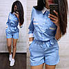Комбинезон летний с шортами с поясом и карманами, фото 3