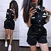Комбинезон летний с шортами с поясом и карманами, фото 4