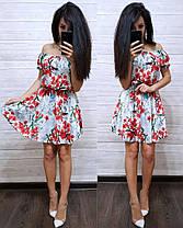 Платье летнее с талией на резинке с открытыми плечами, фото 3