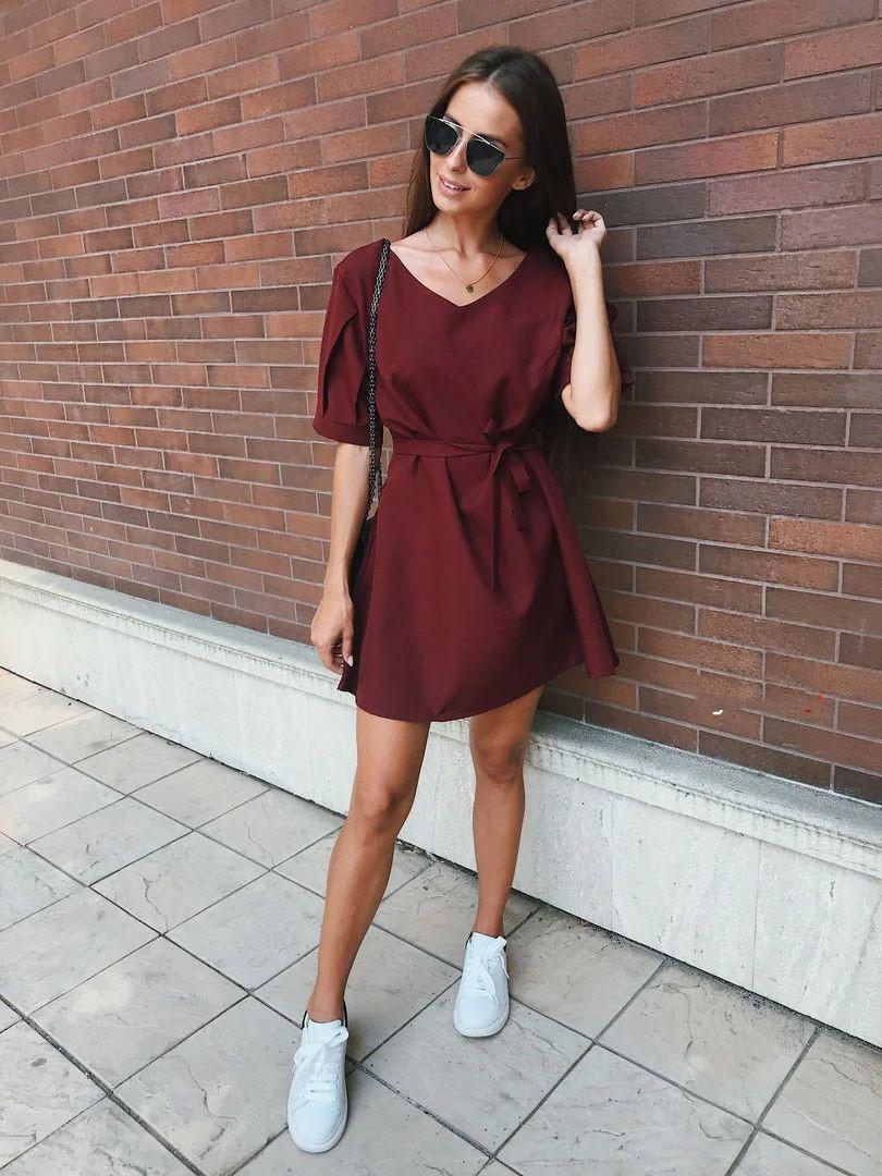 Платье мини свободного кроя с поясом габардин