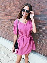 Платье мини свободного кроя с поясом габардин, фото 3