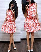 Платье летнее свободное из шифона с высокой талией, фото 2