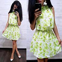 Платье летнее свободное из шифона с высокой талией, фото 3
