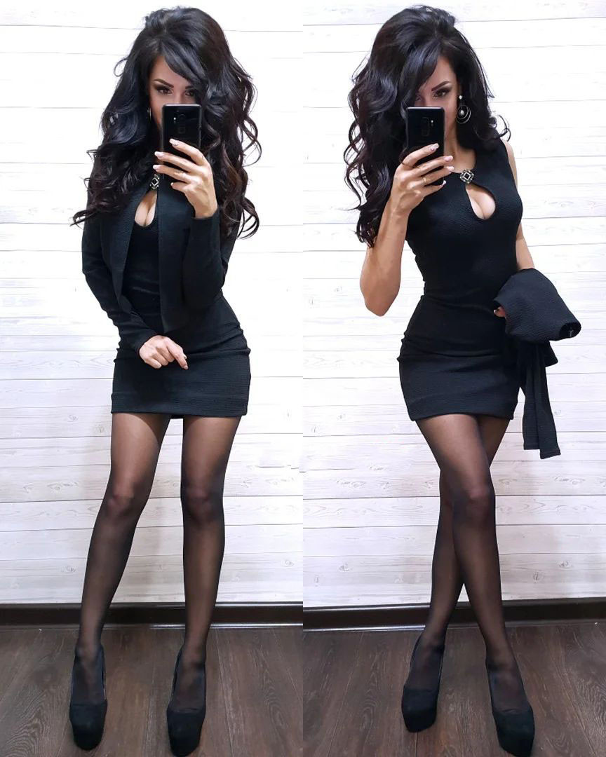 Костюм платье мини с декольте и накидка пиджак