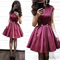 Платье нарядное из атласа с карманами выше колена, фото 3