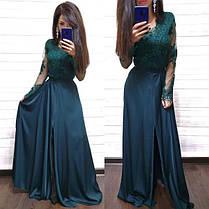 Платье в пол с разрезом и кружевным верхом шелк, фото 2