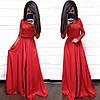Платье в пол с разрезом и кружевным верхом шелк, фото 3