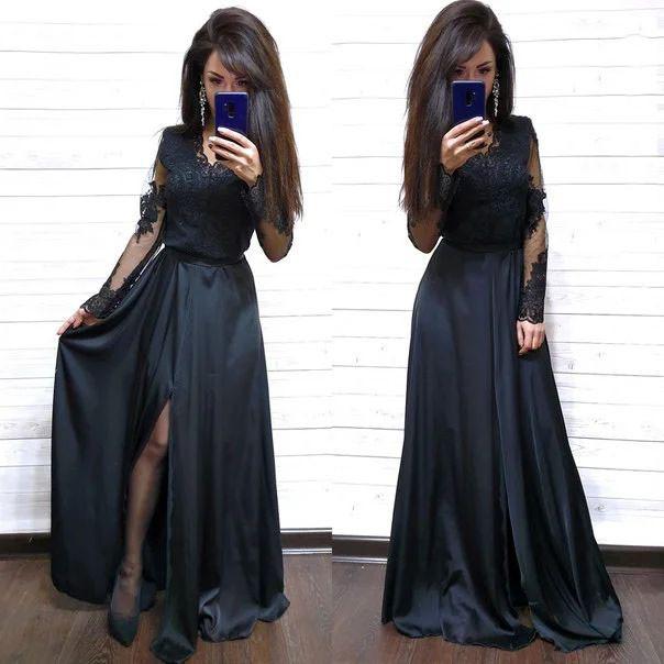 Платье в пол с разрезом и кружевным верхом шелк
