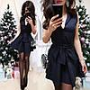 Платье мини с декольте c поясом бантом, фото 2