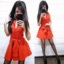 Платье мини с декольте c поясом бантом, фото 3