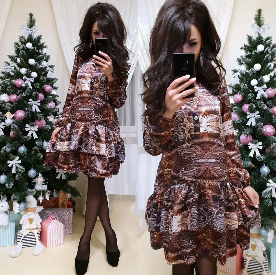 Платье свободного кроя с воланом шелк