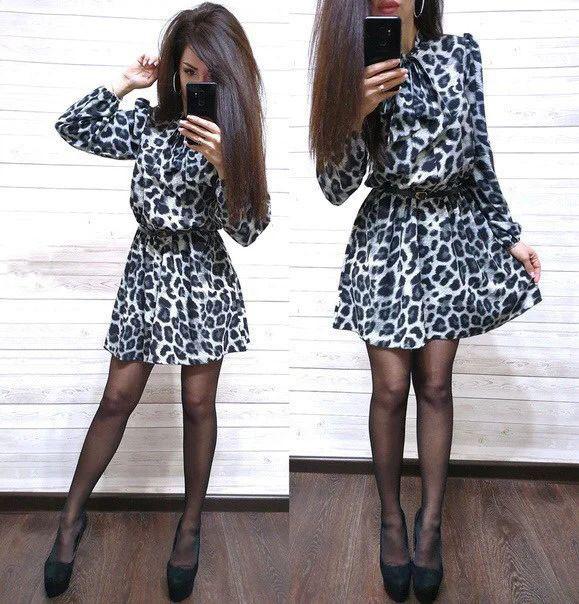 Платье свободное с леопардовым принтом софт с поясом