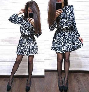 Платье свободное с леопардовым принтом софт с поясом, фото 2