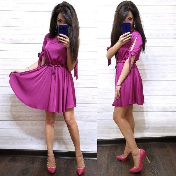 Платье выше колена с завышенной талией шелк
