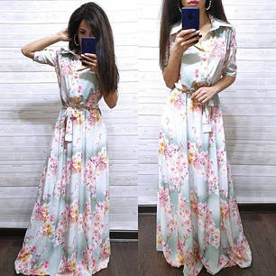 Сукня сорочка в підлогу з поясом і коміром, фото 2
