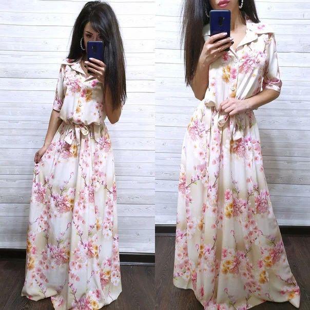 Сукня сорочка в підлогу з поясом і коміром